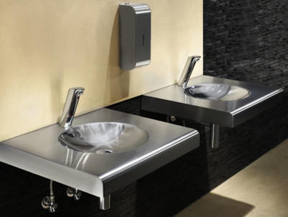 neuer xinox waschtisch aus edelstahl waschbecken f r ffentliche toiletten. Black Bedroom Furniture Sets. Home Design Ideas