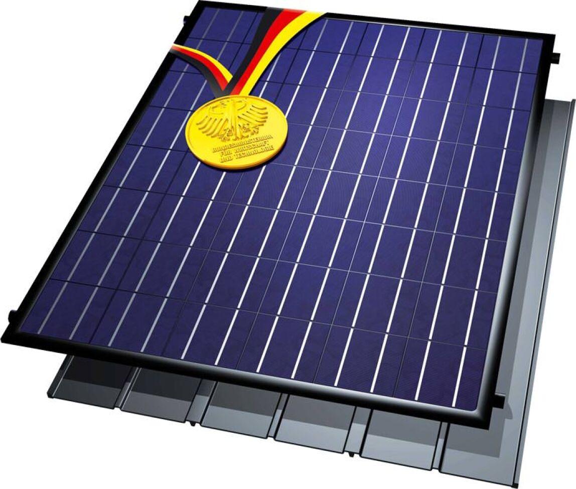 Photovoltaik-Kombimodul  mit solarthermischer Wasserkühlung