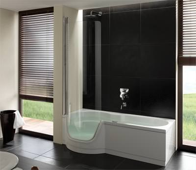 Dusche zum Baden aus Stahl/Email  Badewanne mit Tür