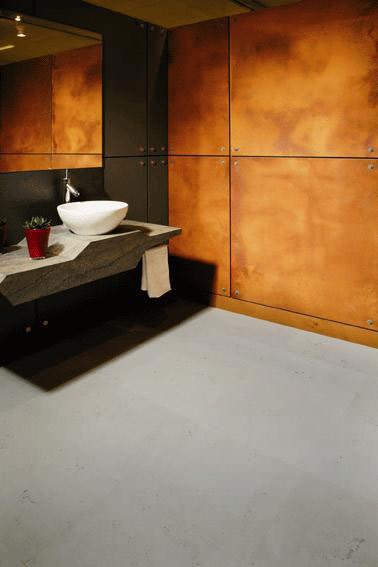 vermeintlicher rost als gestaltungselement f r den innenausbau rostige verkleidung mit. Black Bedroom Furniture Sets. Home Design Ideas