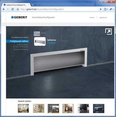 duschablauf konfigurator von geberit online. Black Bedroom Furniture Sets. Home Design Ideas