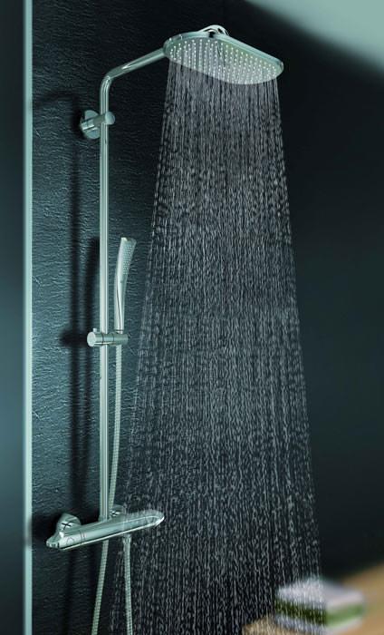 grohe erweitert veris um ein duschsystem und eine medium armatur schwenkbarer brausearm mit. Black Bedroom Furniture Sets. Home Design Ideas