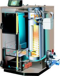 Holzvergaserkessel mit automatisch zuschaltbarem Öl- oder Gasbrenner