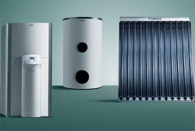 Zeolith-Gas-Wärmepumpe mit Solar-Vakuum-Röhrenkollektoren