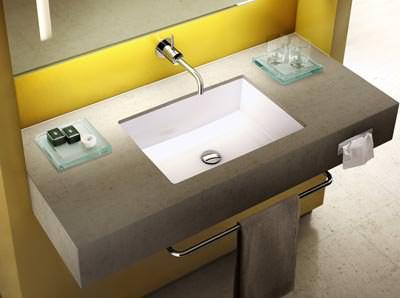 puristischer rechteckiger waschtisch neu von ideal. Black Bedroom Furniture Sets. Home Design Ideas