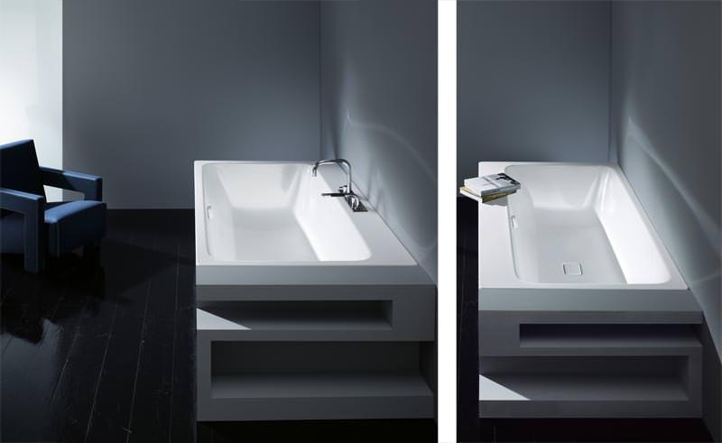 neue kaldewei badewanne spielt mit der asymmetrie badewanne mit breitem rand und badewannenablauf. Black Bedroom Furniture Sets. Home Design Ideas