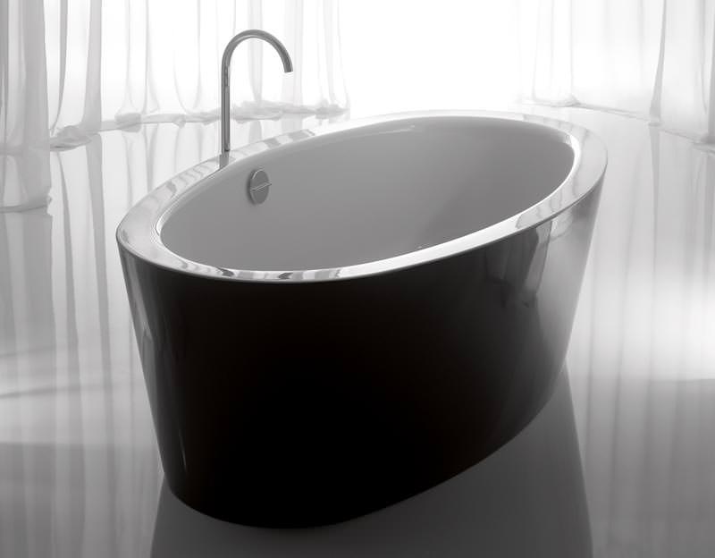 freistehende badewannen von bette in schwarz wei zweifarbige schwarz wei e bettesilhouette. Black Bedroom Furniture Sets. Home Design Ideas