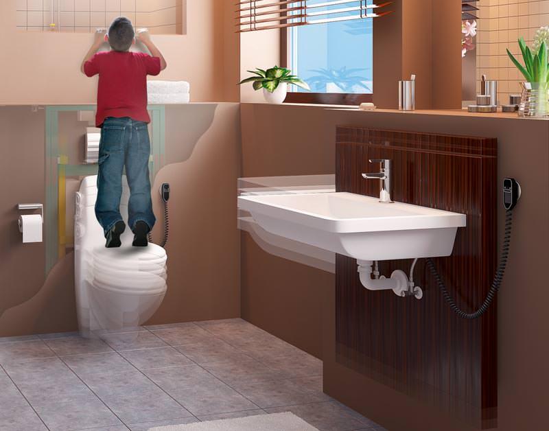 vorwandsystem f r h henverstellbare sanit robjekte in der h he verstellbarer waschtisch und. Black Bedroom Furniture Sets. Home Design Ideas