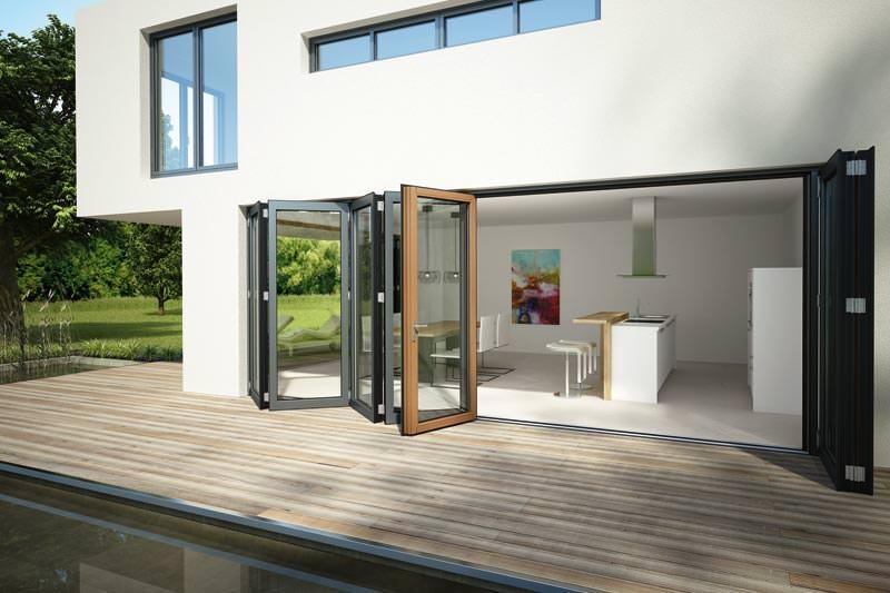 passivhaustaugliche glas faltwand sl 97 von solarlux. Black Bedroom Furniture Sets. Home Design Ideas