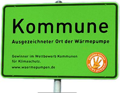"""""""Ortsschild"""" zum Kommunenwettbewerb des Bundesverbandes Wärmepumpe (BWP)"""
