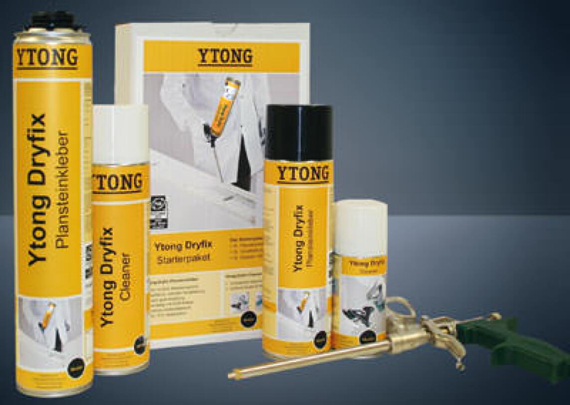 Ytong-Dryfix, Ytong-Dryfix-Plansteinkleber, Plansteinkleber, Porenbeton, Bauschaumdose