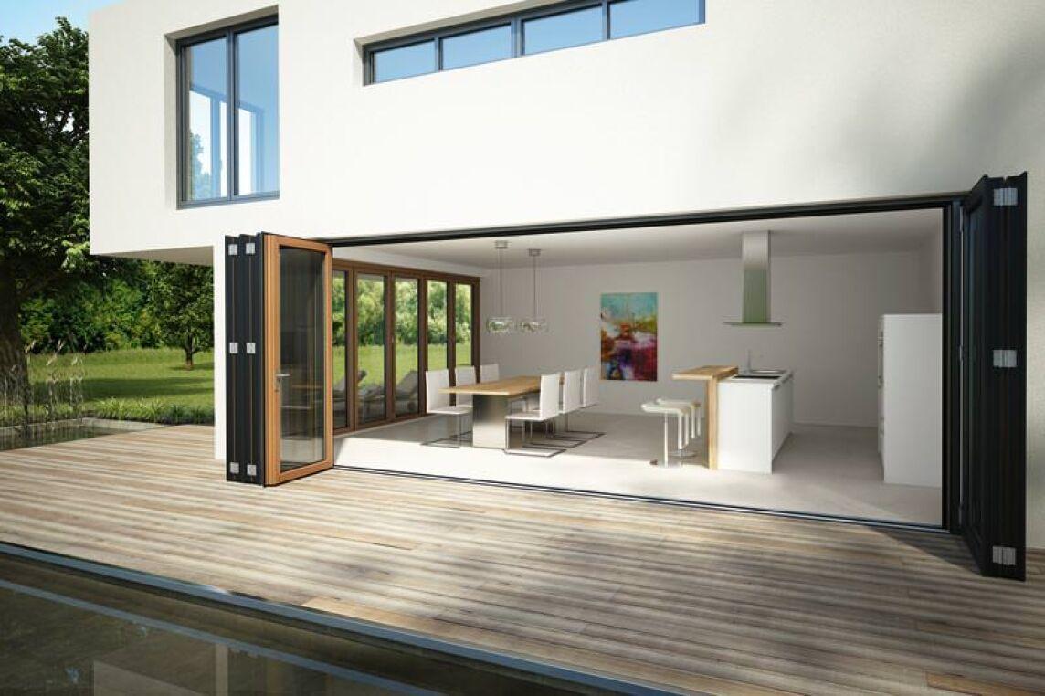 Passivhaustaugliche Glas-Faltwand SL 97 von Solarlux | große ...