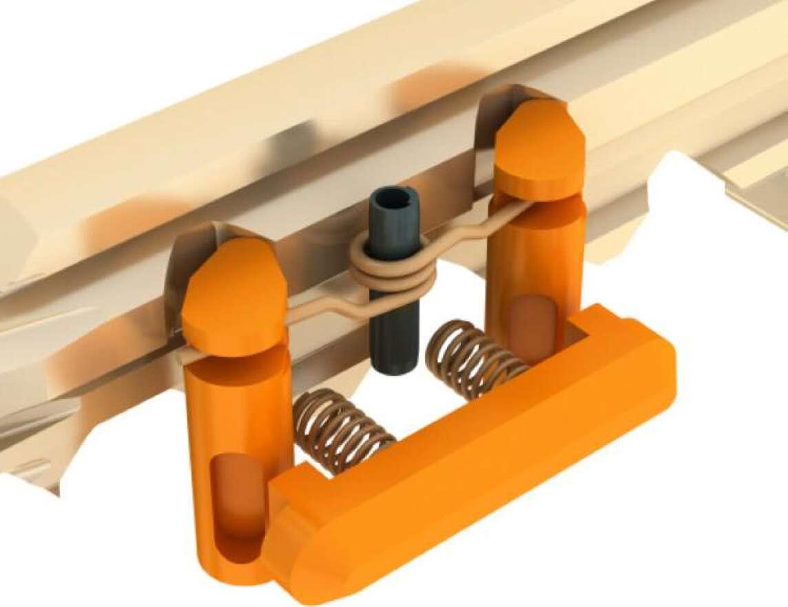Das Zusammenspiel von Schwenkhebeln und Sperrbalken beim Einführen eines berechtigten Schlüssels