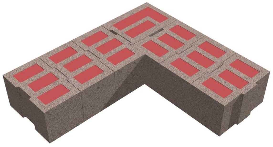 Bisomarkeckstein in einem 42,5 cm starken Bisomark-Mauerwerk