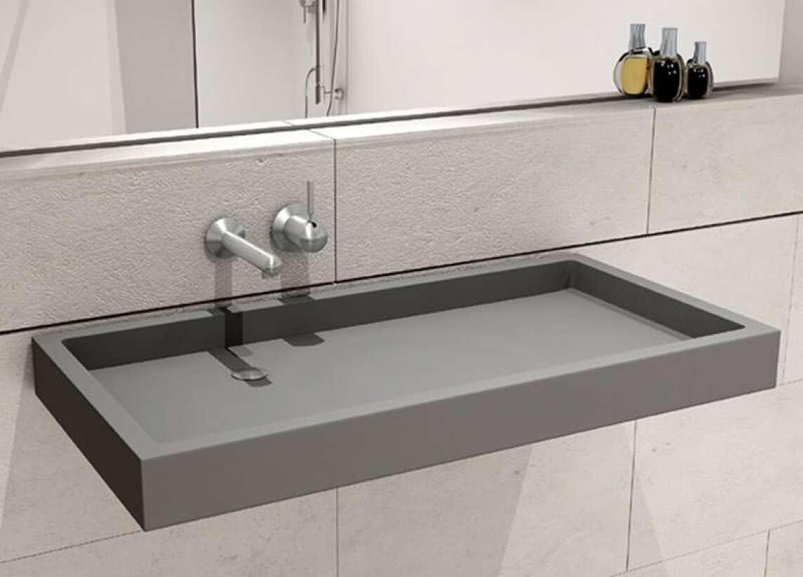 Puristisch, Flach, Kantig: BW90 Waschtisch Von HighTech Aus Glasfaserbeton