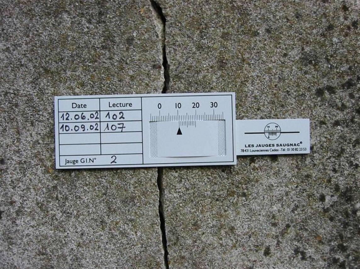 gipsmarke, rissbreitenmesser oder riss-messlehre mit 1/10 mm
