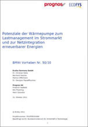 Potenzialen der Wärmepumpe zum Lastmanagement im Strommarkt und zur Netzintegration erneuerbarer Energien