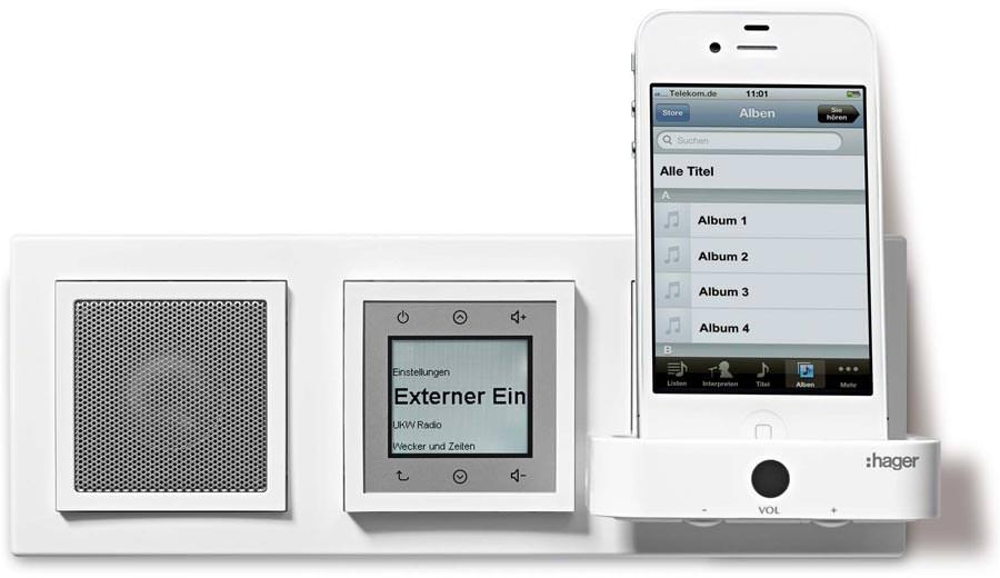 ukw radio und iphone stereoanlage f r 39 s kallysto schalterprogramm von hager. Black Bedroom Furniture Sets. Home Design Ideas