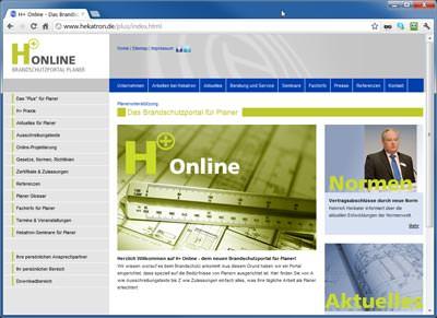 Startseite: H+ Online, Hekatrons Brandschutzportal für Planer