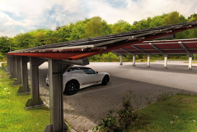 modulare und erweiterbare solar carportsysteme von mp tec. Black Bedroom Furniture Sets. Home Design Ideas