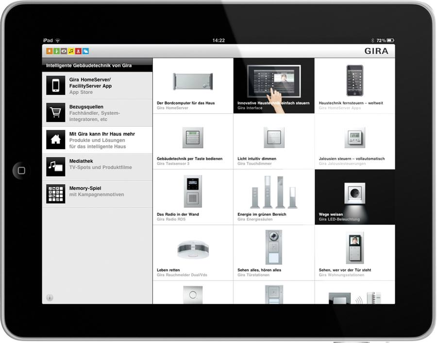 app intelligente geb udesteuerung von gira mit homeserver demo. Black Bedroom Furniture Sets. Home Design Ideas
