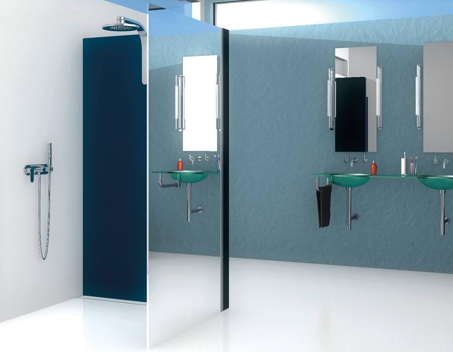 verspiegelte duschabtrennungen neu von glam. Black Bedroom Furniture Sets. Home Design Ideas