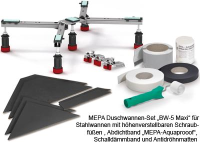 """MEPA Duschwannen-Set """"BW-5 Maxi"""" für Stahlwannen mit höhenverstellbaren Schraubfüßen, Abdichtband """"MEPA-Aquaprooof"""", Schalldämmband und Antidröhnmatten"""