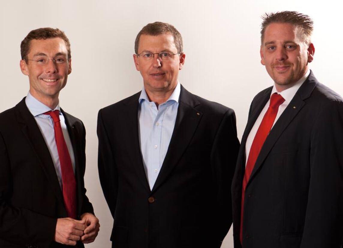 Leitung der Division Egger Building Products: Martin Rottensteiner, Walter Schiegl und Andreas Reiterer