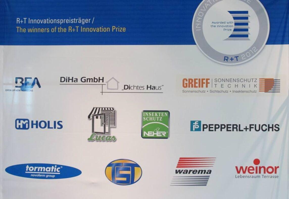 Banner mit den Logos der R+T Innovationspreis-Gewinner
