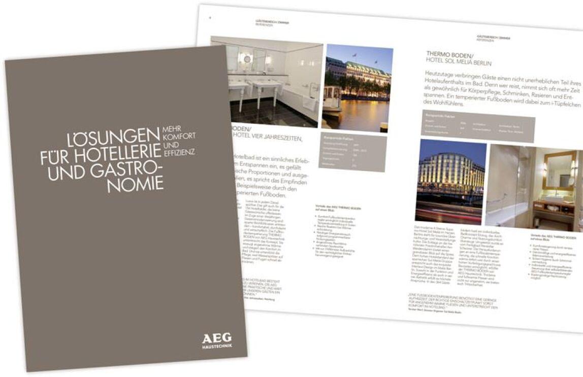 Blick in die Broschüre 'Lösungen für die Hotellerie und Gastronomie: Mehr Komfort und Effizienz'