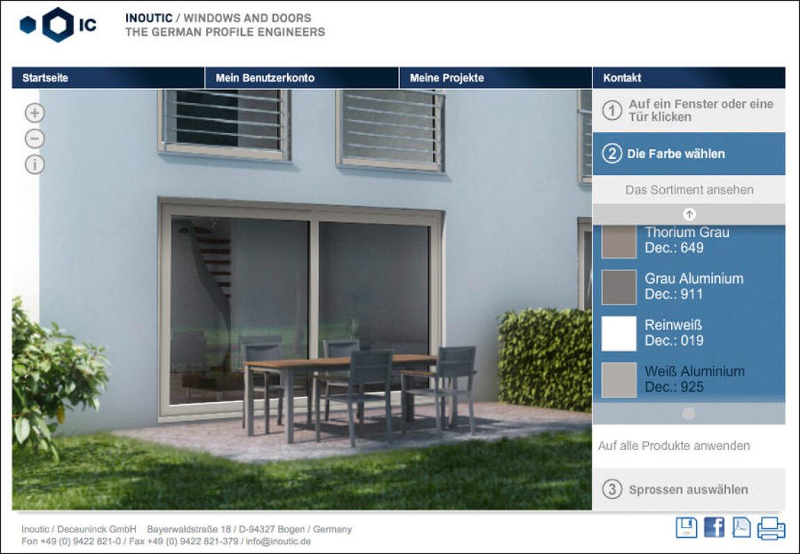 Fenster- und Farbkonfiguration von Inoutic