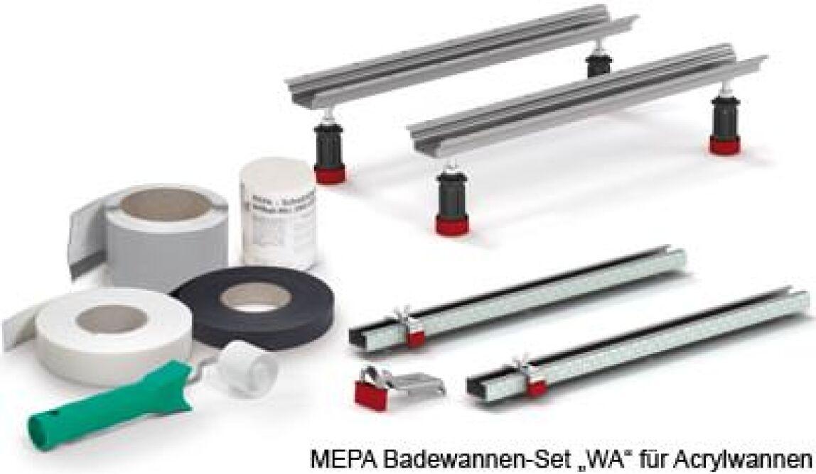 """MEPA Badewannen-Set """"WA"""" für Acrylwannen mit  höhenverstellbaren Schraubfüßen, Abdichtband """"MEPA-Aquaprooof"""", Schalldämmband und Wannenleisten"""