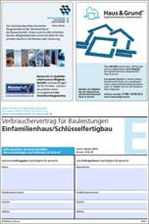 Kostenlose Bauvertragsmuster von Haus & Grund und ZDB