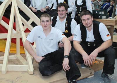 Christopher Hauk (21) aus Rettersheim, Europameister Andreas Fichter (19) aus St. Georgen und Vize-Europameister York Niklas Petersen (22) aus Flensburg