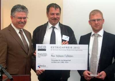 Scheckübergabe beim Estrichpreis 2012