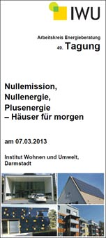 """Flyer zur Fachtagung """"Nullemission, Nullenergie, Plusenergie- Häuser für morgen"""""""