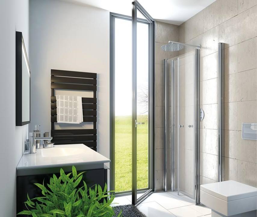 hsk schafft mit drehfalt duschkabine bewegungsfreiheit in. Black Bedroom Furniture Sets. Home Design Ideas