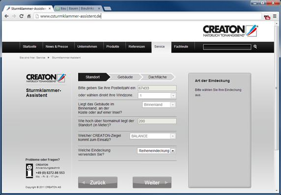 Sturmklammer-Assistent von Creaton