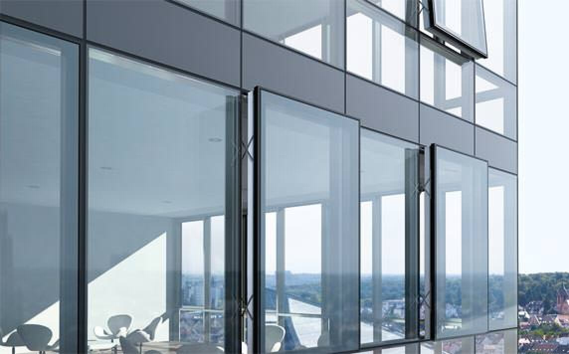 gro fl chige semi structural glazing fassaden mit zwei bzw dreifachverglasung. Black Bedroom Furniture Sets. Home Design Ideas