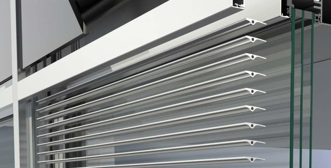 Schüco Sonnenschutz CAB (Concealed Active Blind, verborgene aktive Jalousie)