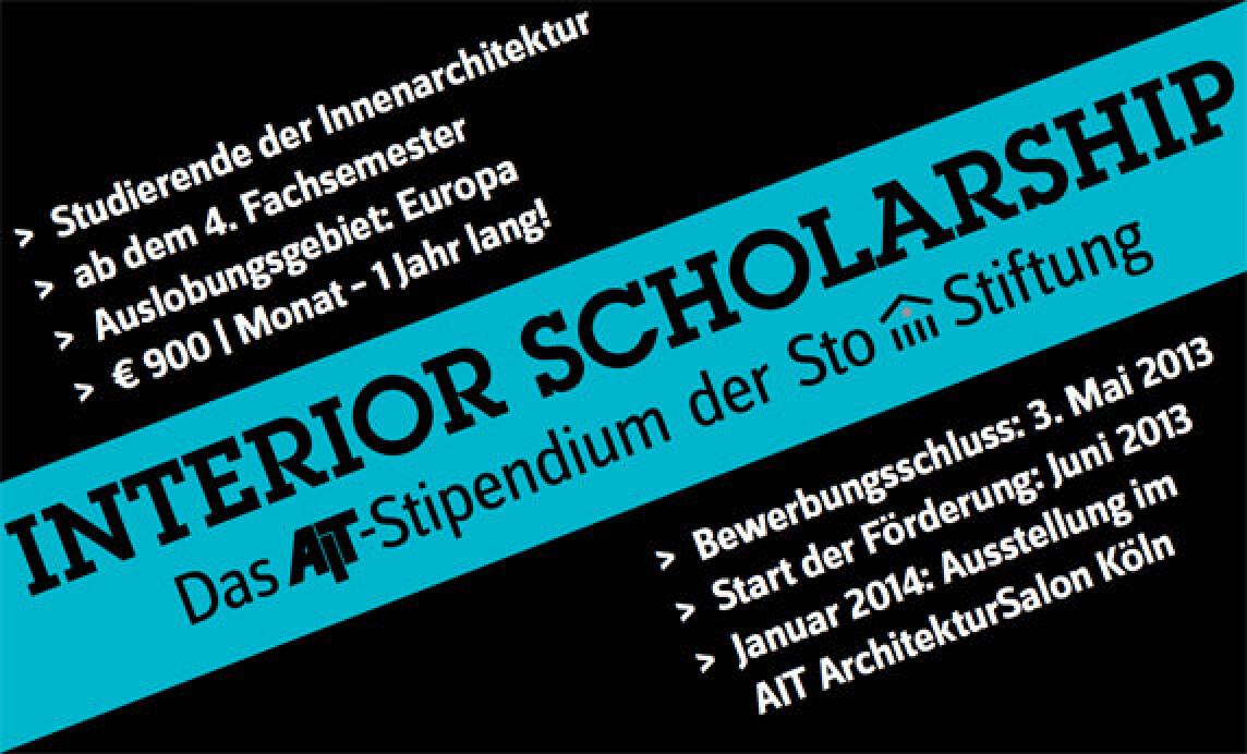 """AIT-Stipendium """"Interior scholarship"""" der Sto-Stiftung"""