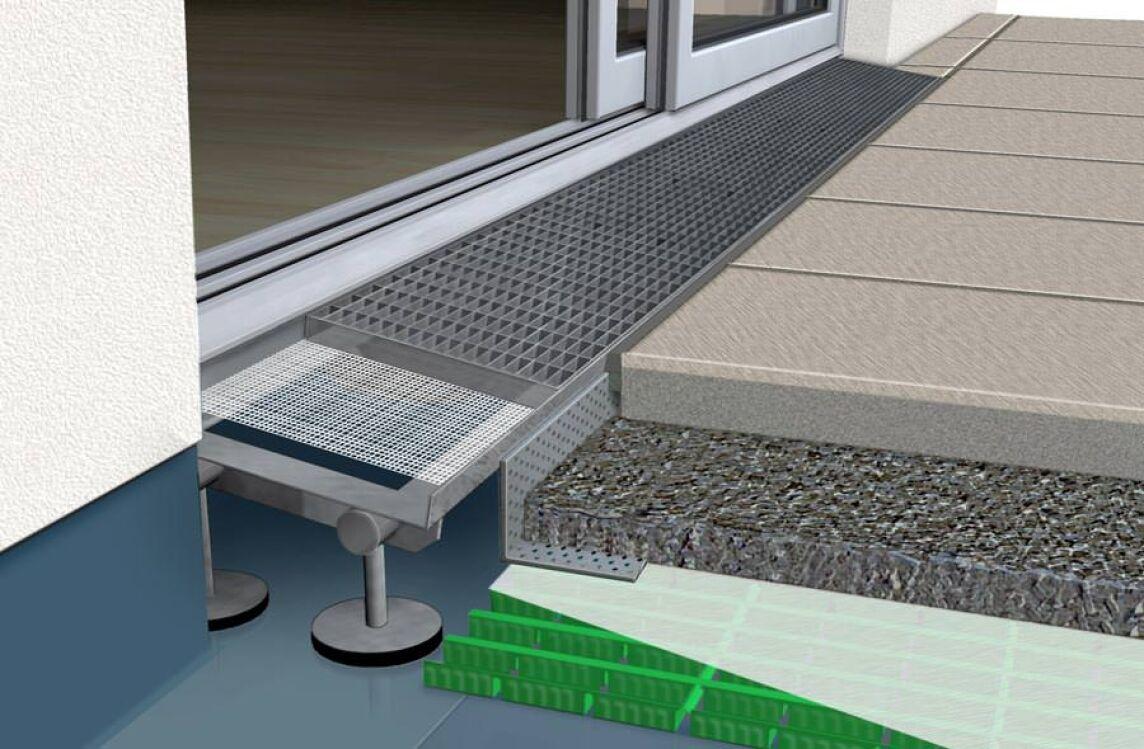 gutjahr erweitert drainrost system aquadrain f r barrierefreie berg nge. Black Bedroom Furniture Sets. Home Design Ideas