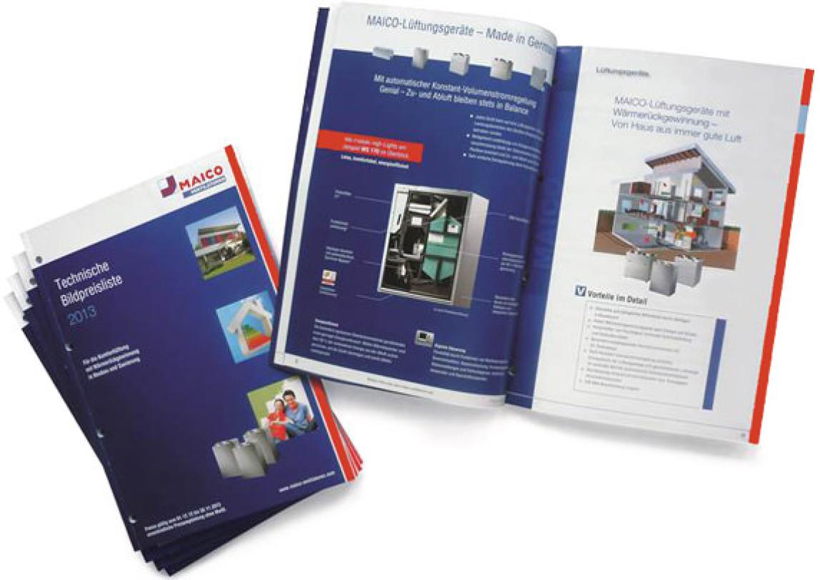 Technische Bildpreisliste für Lüftungssysteme von Maico