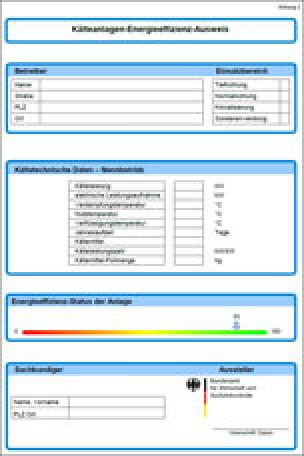 Kälteanlagen-Energieeffizienz-Ausweis