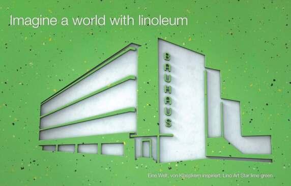 Bauhausgebäude in Dessau (Lino Art Star lime green)