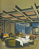 Master Bedroom im Play­boy Townhouse (Architekt: R. Donald Jaye, Zeich­nung: Humen Tan) Mai­ausgabe Playboy 1962