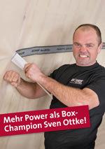 Selbst Testimonial und Boxer Sven Ottke scheint an der Difunorm PowerGrip zu verzweifeln