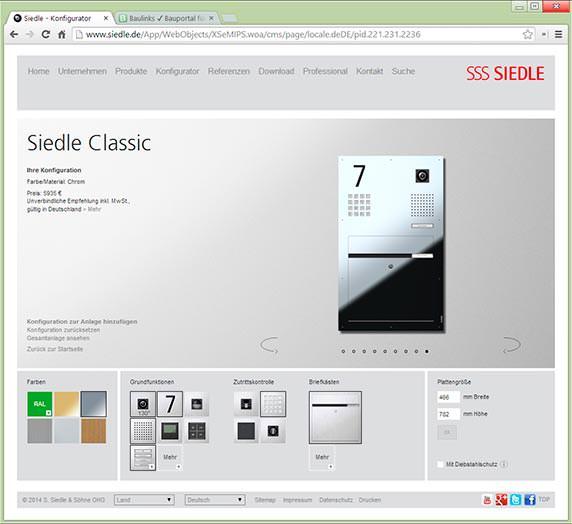 online konfigurator jetzt auch f r siedle classic. Black Bedroom Furniture Sets. Home Design Ideas