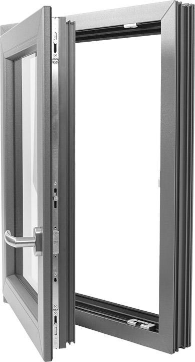 Graue Kunststofffenster anthrazitfarbener grundkörper standard bei inoutic für