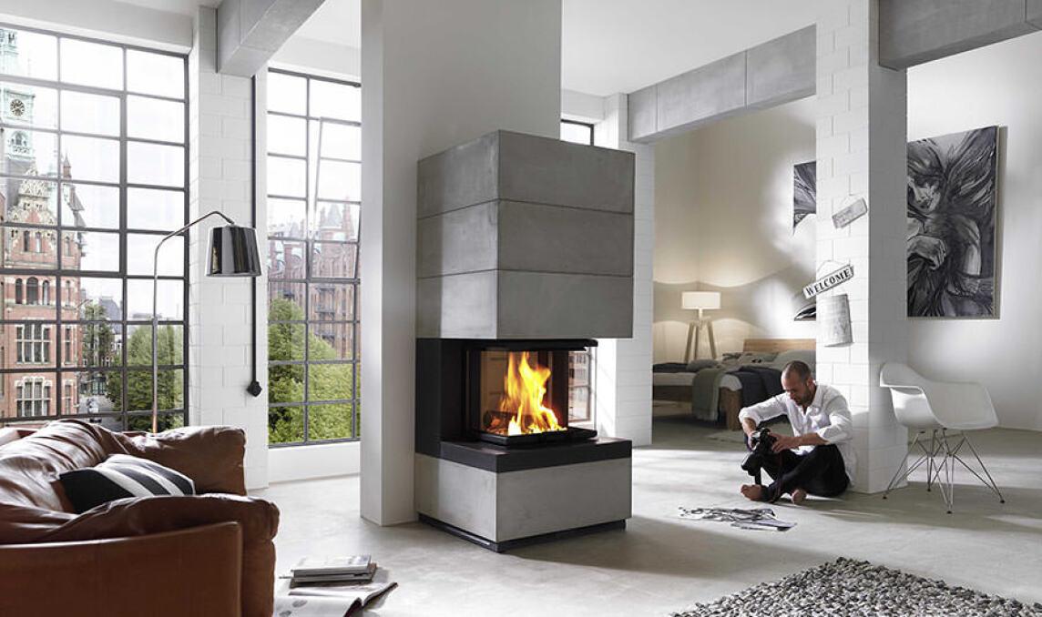 s15 puristisches heizm bel aus caminas architekturlinie kaminofen mit speichersteinen. Black Bedroom Furniture Sets. Home Design Ideas